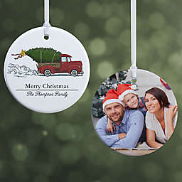 """Classic Christmas Vintage Truck Ornament- 2.85"""" Glossy - 2 Sided"""