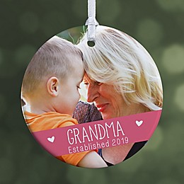 """Grandparents Established Personalized Photo Ornament- 2.85"""" Glossy - 1 Sided"""