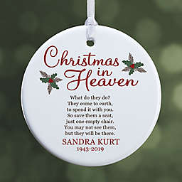 """Christmas In Heaven Personalized Memorial Ornament- 2.85"""" Glossy - 1 Sided"""