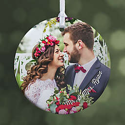 "Wedding Photo Memories Personalized Ornament- 2.85"" Glossy - 1 Sided"