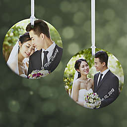 """Wedding Photo Memories Personalized Ornament- 2.85"""" Glossy - 2 Sided"""