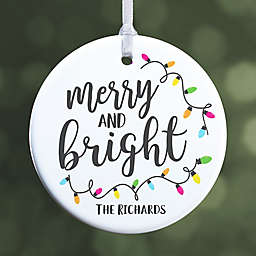 """Merry & Bright Personalized Ornament- 2.85"""" Glossy - 1 Sided"""