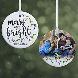 """Merry & Bright Personalized Ornament- 2.85"""" Glossy - 2 Sided"""