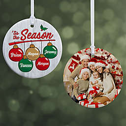 """'Tis the Season Personalized Ornament- 2.85"""" Glossy - 2 Sided"""