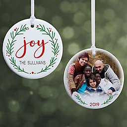 "Joy Wreath Personalized Ornament- 2.85"" Glossy - 2 Sided"