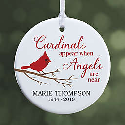"""Cardinal Memorial Personalized Ornament- 2.85"""" Glossy - 1 Sided"""