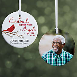 """Cardinal Memorial Personalized Ornament- 2.85"""" Glossy - 2 Sided"""