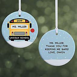 """Best Bus Driver Personalized Ornament- 2.85"""" Glossy - 2 Sided"""