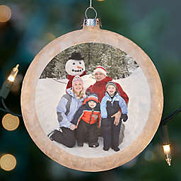 Holiday Photo Lightable Frosted Glass Ornament