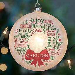 Merry Mistletoe Wreath Lightable Frosted Glass Ornament