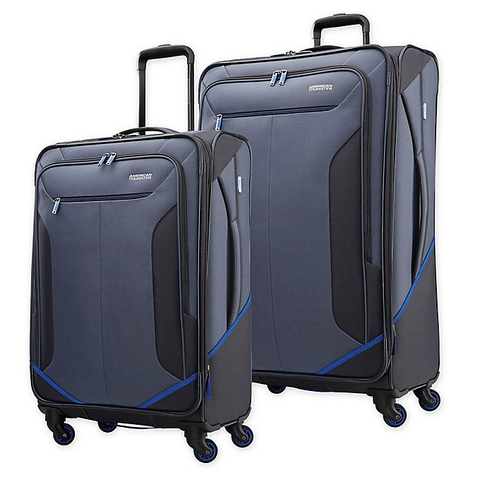 Alternate image 1 for American Tourister® Rematch Spinner Checked Luggage in Blue/Black