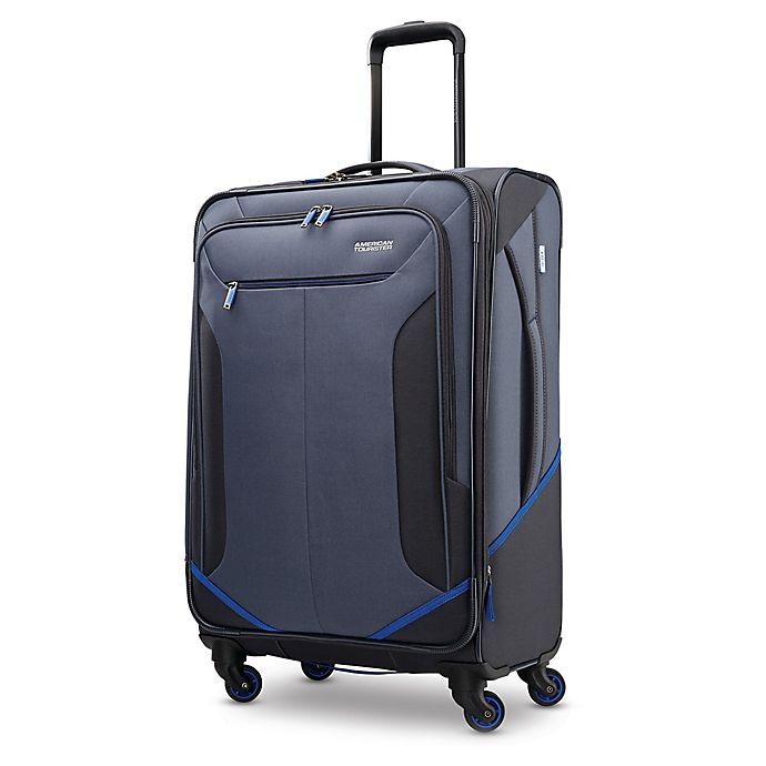 Alternate image 1 for American Tourister® Rematch 25-Inch Spinner Checked Luggage in Blue/Black