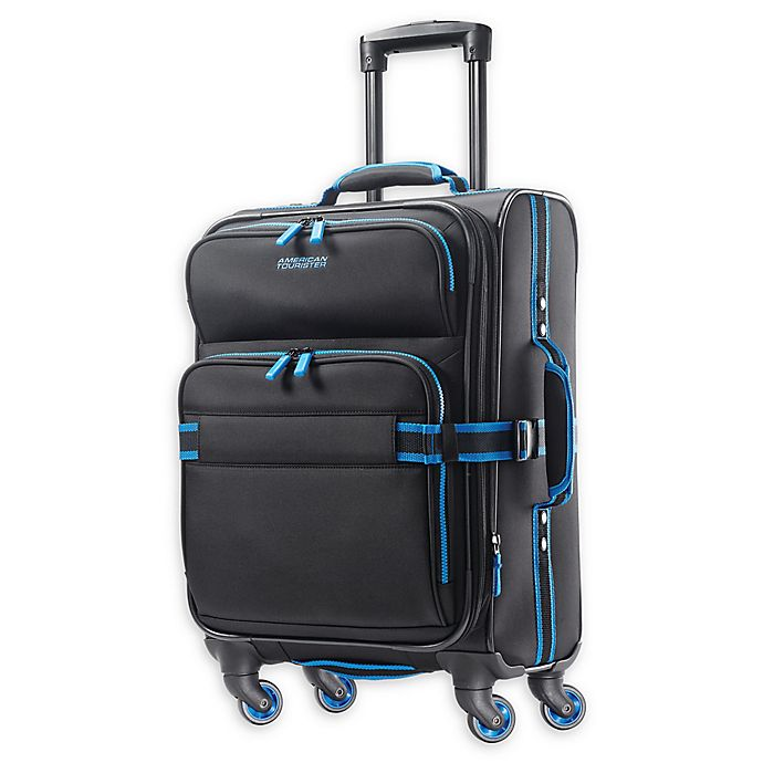 Alternate image 1 for American Tourister® Exo Eclipse 20-Inch Spinner Carry On Luggage in Black/Blue