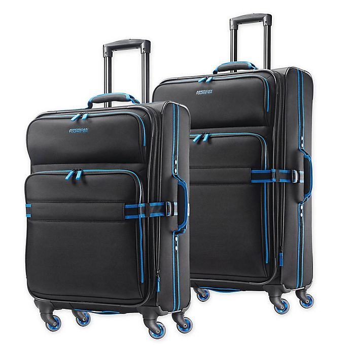 Alternate image 1 for American Tourister® Exo Eclipse Spinner Checked Luggage in Black/Blue