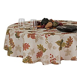Elrene Swaying Leaves Fall 70-Inch Round Tablecloth