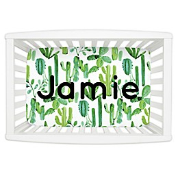 Carousel Designs® Painted Cactus Mini Fitted Crib Sheet in Green