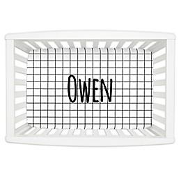 Carousel Designs® Windowpane Mini Fitted Crib Sheet in Black/White