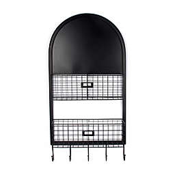 Bee & Willow™ Home Wall Mounted Metal Chalkboard and Shelves in Black