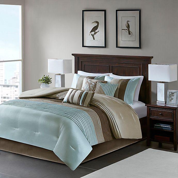 Madison Park Amherst 7 Piece California King Comforter Set In Blue