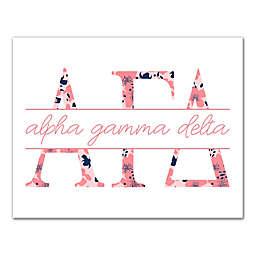 Designs Direct Alpha Gamma Delta Floral Greek Letters Canvas Wall Art