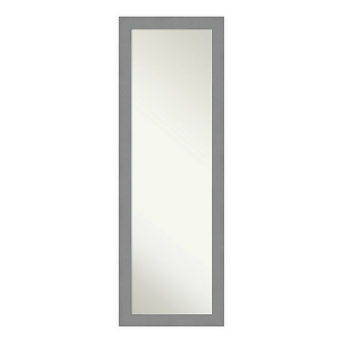 Alternate image 1 for Amanti Art Brushed Nickel 18-Inch x 52-Inch Framed On the Door Mirror in Nickel/Silver