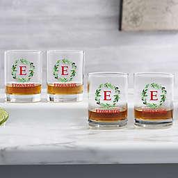 Holiday Monogram Wreath Personalized Whiskey Glass