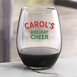 Holiday Cheer Personalized Christmas Stemless Wine Glass