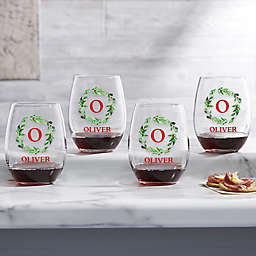 Holiday Wreath Monogram Christmas Stemless Wine Glass