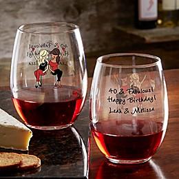 Birthday Wine Lover philoSophie's® Personalized Stemless Wine Glass