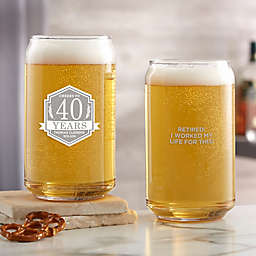 Retirement Personalized 16oz. Beer Can Glass