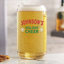 Holiday Cheer Personalized 16 oz. Beer Can Glass