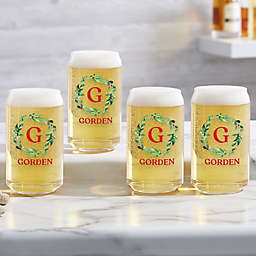 Holiday Monogram Wreath Personalized 16 oz. Beer Can Glass