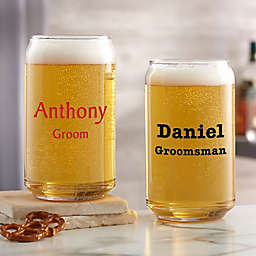 Groomsmen Personalized Printed 16oz. Beer Can Glass