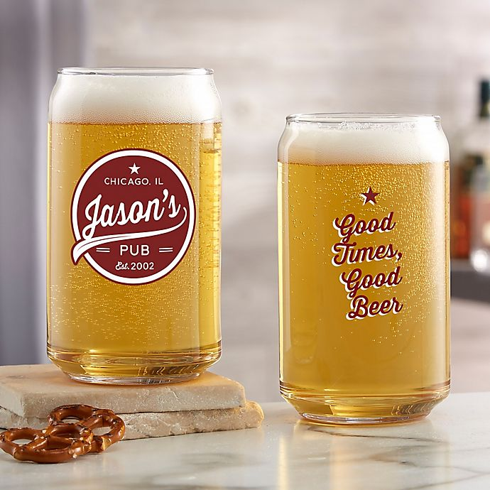 Alternate image 1 for Brewing Co. Personalized 16oz. Printed Beer Can Glass