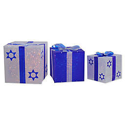 Northlight White & Blue Gift Box 3-Piece Hanukkah Outdoor Decoration