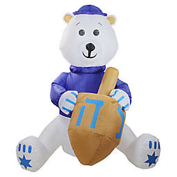 Northlight 4-Foot Hanukkah Inflatable Bear Décor in Blue/White