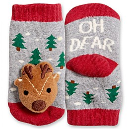 IQ Kids Size 0-12M Reindeer Rattle Socks in Grey/Red