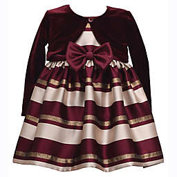 Bonnie Baby 2-Piece Stripe Dress and Cardigan Set in Burgundy