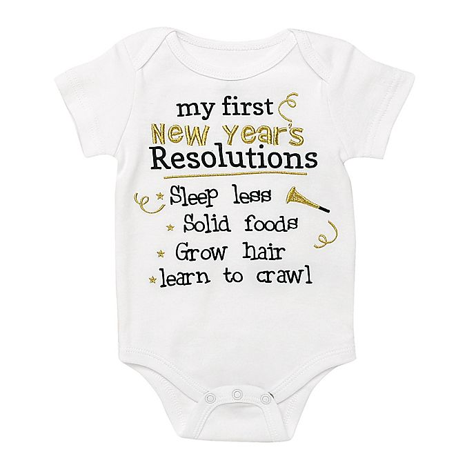 Alternate image 1 for Baby Starters® Resolutions Bodysuit in White