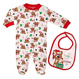 Baby Starters® 2-Piece Rudolph the Red Nosed Reindeer Footie and Bib Set