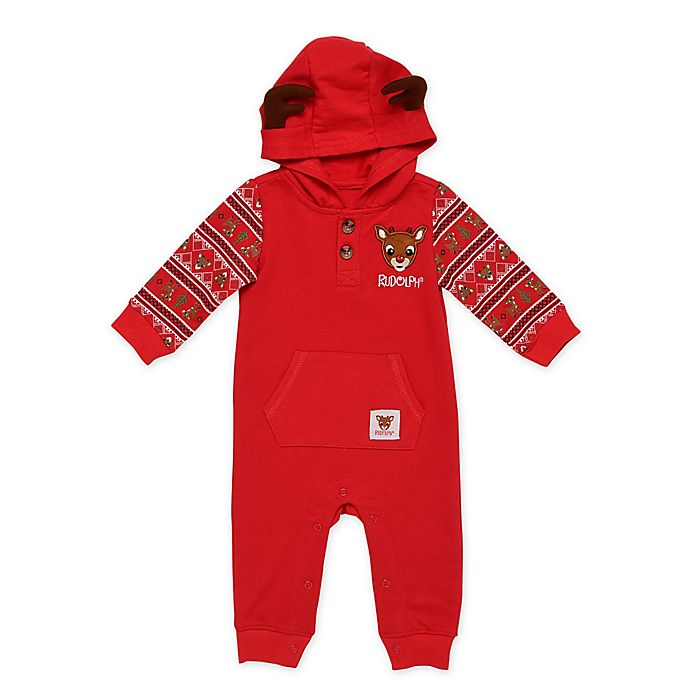 Alternate image 1 for Baby Starters® Rudolph Hooded Coverall in Red
