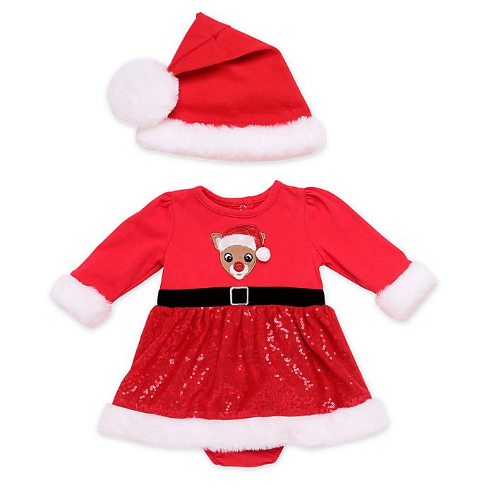 Alternate image 1 for Baby Starters® 3-Piece Rudolph Dress, Hat, and Diaper Cover Set in Red