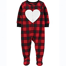 carter's® Buffalo Check Heart Toddler Footie in Red
