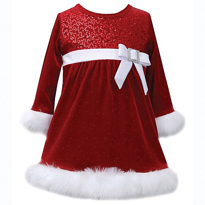 Alternate image 1 for Bonnie Baby Velvet Sparkle Dress in Red