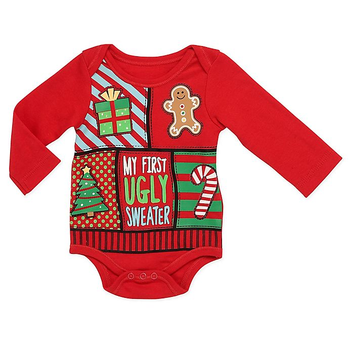 Alternate image 1 for Baby Starters® First Ugly Sweater Bodysuit in Red