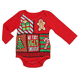 Baby Starters® First Ugly Sweater Bodysuit in Red