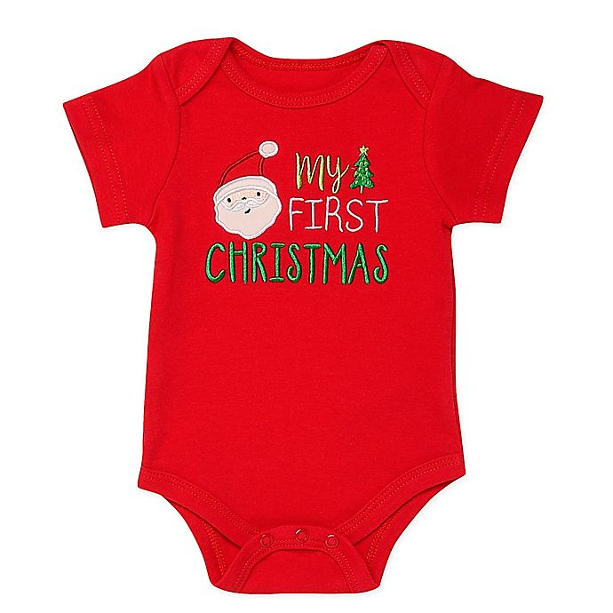 Alternate image 1 for Baby Starters® First Christmas Bodysuit in Red