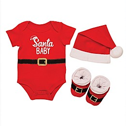 """Baby Starters® 3-Piece """"Santa Baby"""" Bodysuit, Hat, and Booties Set in Red"""