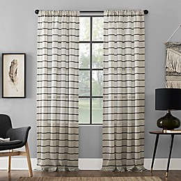 Clean Window™ Twill Stripe Semi-Sheer Rod Pocket Curtain Panel