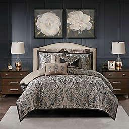 Madison Park Signature Grandover Jacquard 9-Piece King Comforter Set in Taupe